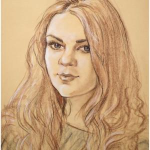 Портрет девушки. б. тон., сепия, сангина, мел, пастель. 40х50. 2009 г.