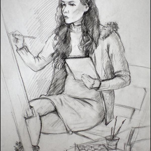 Зарисовка в студии. б.уголь, 40х60,2010 г.