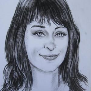 Блиц-портрет девушки. б. уголь, 30х40, 2013 г.