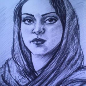 Портрет мусульманской девушки. б.уголь, 30х40, 2009 г.