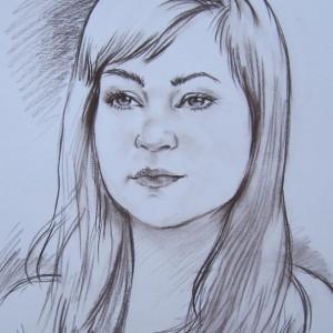Блиц-портрет девушки. б. сепия, 30х40, 2013 г.