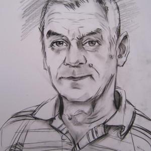Блиц-портрет мужчины. б. уголь, 30х40, 2013 г.
