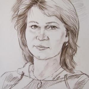 Портрет женщины. б., сепия, 30х40, 2013 г.