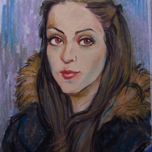 Блиц-портрет девушки. б. пастель, 30х40, 2013 г.