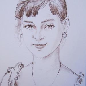 Блиц-портрет девочки. б. сепия, 30х40. 2012 г.
