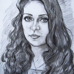 Портрет девушки. б. уголь. 30х40, 2009 г.