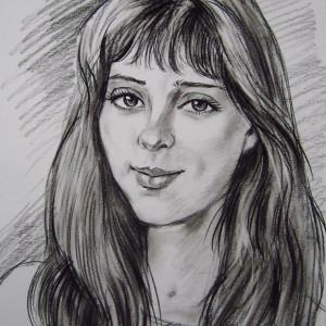 Портрет девушки. б. уголь, 30х40. 2013 г.