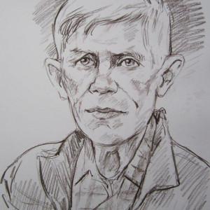 Портрет пожилого мужчины. б. сепия, 30х40, 2015 г.