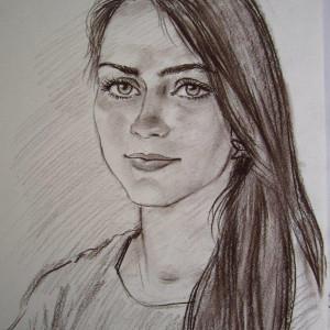 Портрет девушки. б. сепия, 30х40. 2014 г.