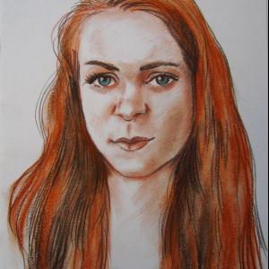 Портрет девушки. б. уголь, сангина, пастель. 30х40, 2014 г.