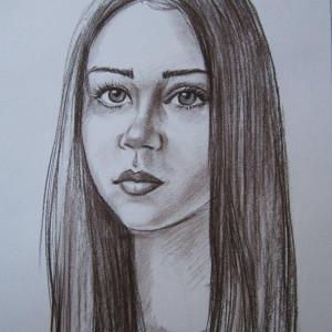 Портрет девочки. б. сепия, 30х40. 2013 г.