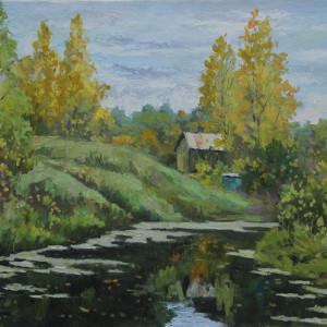 Осенний этюд с прудом. х.м., 50х70, 2016 г.