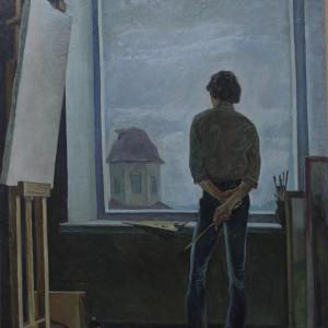 Раздумье (дипломная работа, руководитель -П.В.Павлов), х.м.75х110, 1982 г.