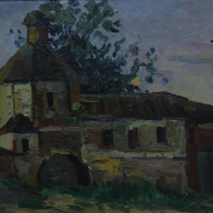 У стен монастыря. Этюд. к.м., 30х40, 1982 г.