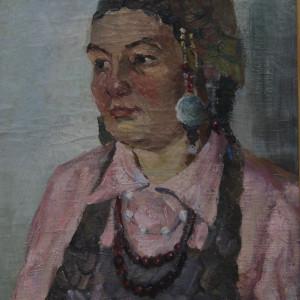 Портрет чувашской женщины, х.м., 40х50, 1982 г.