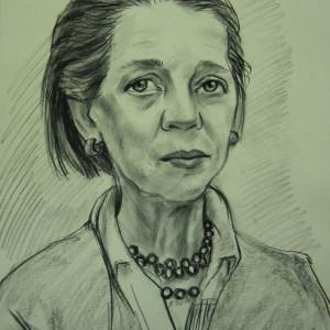 Портрет  пожилой женщины. б. уголь, 30х40. 2013 г. г.