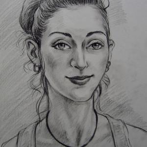 Портрет девушки. б. уголь,, 30х40. 2014 г.