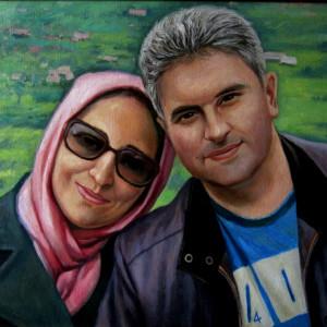 Парный портрет с фото, х.м. 40х50, 2010 г.