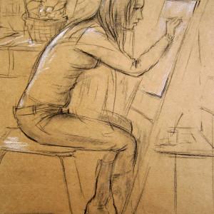 Зарисовка в студии, б.,уголь, мел, 40х60, 2010г.
