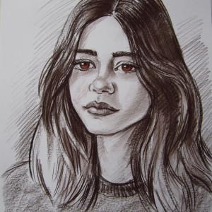 Портрет девочки, б., сепия, пастель, 30х40, 2019 г.