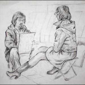 """Зарисовка из альбома """"Художник и модель"""", бум., угольный кар., 30х30, 2010 г."""