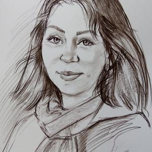 Портрет женщины, б., сепия 30х40, 2020 г.