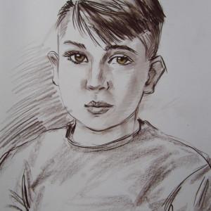 Блиц-портрет мальчика. б., сепия, пастель,  30х40,  2019 г.
