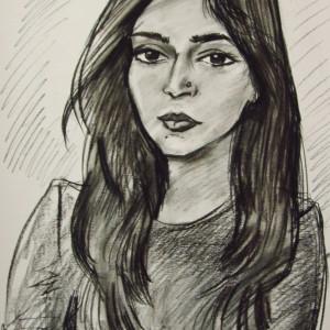 Блиц-портрет девушки из Индии, б., уголь,  30х40, 2017 г.