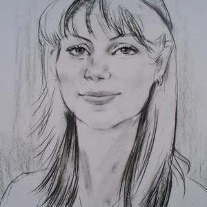 Блиц-портрет девушки, б., уголь, 30х40, 2010 г.